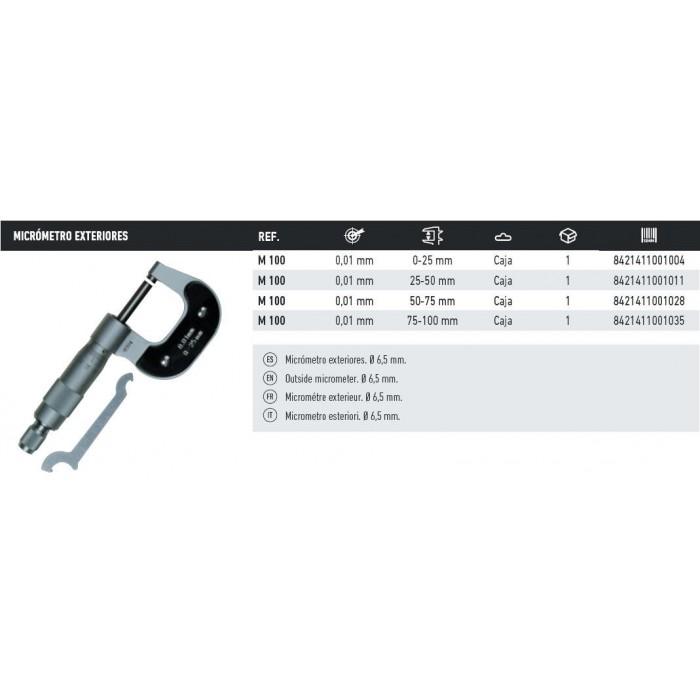 MICROMETRO DE EXTERIORES M-100 0-25MM.